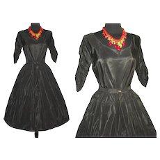 Vintage 1950s Dress . Couture . Full Circle Skirt . Black . Femme Fatale Garden Party Mad Men Cocktail Rockabilly Ballerina