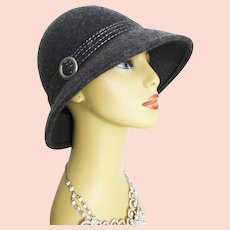 Gorgeous 1970s Hat . Gray . Ornate . Rockabilly . Mad Man . Couture