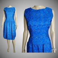 Vintage 1950s Dress . Saphire Blue . Embroidered . Dropped waistline . Mad Man - Rockabilly