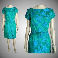 Vintage 1950s Dress . Hourglass . Wiggle . Two Tone . Party Dress . Couture . New Look . Femme Fatale . Cocktail . Wedding