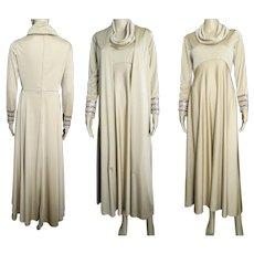 Vintage 1960s Dress . Maxi . Kay Kipps . Matching Vest . Couture . Party Dress . Retro . Gown