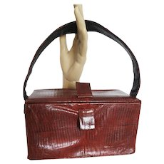 Vintage 1940s purse . Red Snakeskin . Box Purse . Rockabilly . Mad Man . Mod - Handbag - Gorgeous