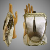 Vintage 1950s Purse//1950s handbag//Vintage Evening Purse//Gold//Metallic//50s Evening Purse//