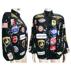 Vintage Sequin Jacket //Racing Jacket//1980s//Car Emblems//Great Graphics//Razz//Black Sequins//Bomber Jacket
