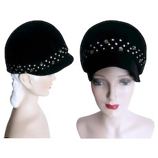 Vintage 1960s Hat//Black//Designer Howard Hodge//Prong Set Rhinestones//Garden Party// Mad Men// Rockabilly// Femme Fatale//60s Hat// Couture