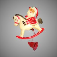 Vintage 1930s Celluloid Brooch ,  Santa Claus .  Movable  .  Rocking Horse  .  Art Deco .  Pin