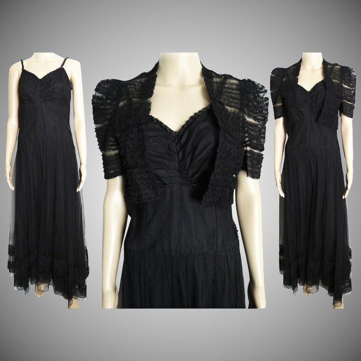 Vintage 1930s Dress//30s Dress//Evening Gown//Bolero Jacket//Old ...