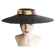 1f7d7abd659 Vintage 1940s Hat//Large Brim//Braided Headband//Multi Colored Ribbons