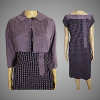Vintage 1950s Dress//50s Dress/ Lavender//Designer//Matching Bolero Jacket//New Look//Mod//Wiggle//Purple