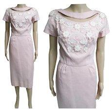 Vintage 1950s Dress//50s Dress/Pink//Rhinestones//Paula Brooks//Original//Wedding//New Look//Rockabilly//Mod