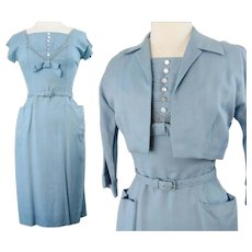 Reserved~~~~~~Vintage 1950s Dress//50 Dress//Matching Bolero Jacket//Blue//Wedding//New Look//Rockabilly//Mod