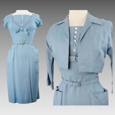 Vintage 1950s Dress//50 Dress//Matching Bolero Jacket//Blue//Wedding//New Look//Rockabilly//Mod