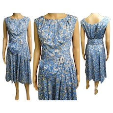 Vintage 1950s Dress//50sDress//Big Rhinestone Buckle//Blue//Gray//Mod//New Look//Rockabilly