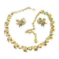 Vintage 1940s Necklace  . Matching Earrings .  Coro  . Rhinestone .