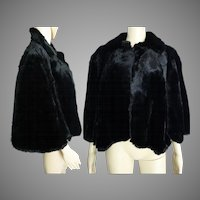 Vintage Seal Stole// Shearling Black Fur // Femme Fatale//Black//Seal//Jacket//Coat//Morton's//
