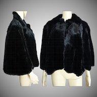 Vintage Seal Stole// Shearling Black Fur // Femme Fatale//Black//Seal//Jacket//Coat//Morton's//