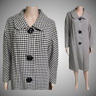 Vintage 1950s Houndstooth Coat//Bradley of New York//Winter Coat//50s Coat//Designer Coat//Black & White Houndstooth