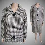 Vintage 1950s Houndstooth Coat//Bradley of New York//Winter Coat//50s Coat//Designer Coat//Black & White Houndstooth