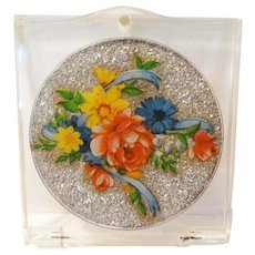 Vintage Compact//Lucite//Compact//Sparkling Center//Floral//1950s//1940s//