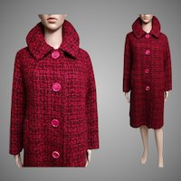 Vintage 1950s Coat//50s Coat//Kronenfeld Furs//Removeable Zipper Lined//50s coat//Big Pink Buttons//Red//Pink