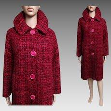 Vintage 1950s Coat//50s Coat//Kronenfeld Furs//Removeable Zipper Lined//50s coat//Big Pink Buttons//Red//Pink