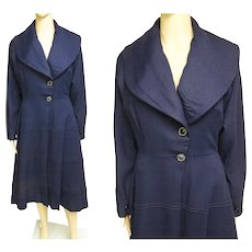 Vintage 1940s Coat//Navy Blue//Princess Style Coat//40s Coat//40s Coat Dress