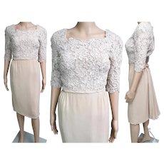 Vintage 1950s Dress//Paul Parnes//50s Dress// Creme//Designer//New Look//Mod//Wiggle//Party Dress//Rockabilly//Cocktail Dress
