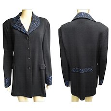Vintage Sweater// Blue Rhinestone//Designer//Marie Gray//Cardigan//Rhinestones//Sweater//Black//St. John Evening