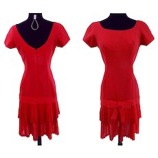 Vintage 1950s Dress//50s Dress/Red//Dropped Waistline//Pleated Bottom//Rockabilly//New Look//Mod//