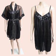 Vintage Nightgown//Matching Robe//Polka Dots//Sexy//Bombshell//Matching Set//Burlesque