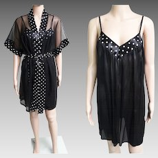 Vintage Nightgown//Matching Robe//Polka Dots//Sexy//Bombshell//Matching Set//Burlesque