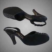 Vintage 1940s Heels//Slingback//Designer//Toni Drake//Baby Doll//Rockabilly//Bombshell//Pinup//