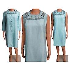 Vintage 1960s Dress//Matching Coat//60s Cocktail Dress//Mod//New Look//Rockabilly//Party Dress//Aqua//Beaded