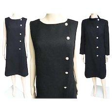 Vintage 1950s Dress//Matching Coat//50s Cocktail Dress//Mod//New Look//Rockabilly//Party Dress//Black//Rhinestone