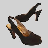 Vintage 1940s Platforms//I. Miller//Open Toe Platforms//40s Slingback Platforms//Rockabilly//Designer//Brown
