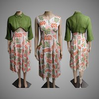 Vintage 1950s Dress//50s Dress/ Matching Bolero Jacket//Rhinestones//Pearls//Green//Rockabilly//New Look//Mod//