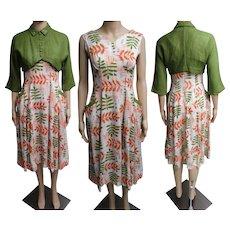 Vintage 1950s Dress//50s Dress/ Matching Bolero Jacket//Rhinestones//Pearls//Green//Rockabilly//New Look//Mod//