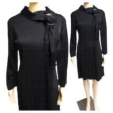 Vintage 1950s Dress//50s Dress/ Black//Designer//Rockabilly//Mod//New Look//Black Lucite//