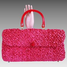 Vintage 1960s Purse//Handbag//60s Purse//Hot Pink//Straw//Rockabilly//New Look//Mod//Retro