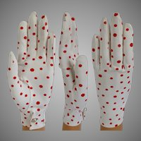 Vintage 1950s Gloves //50s Gloves//Polka Dots//Red//Creme// Rockabilly//Wedding//Party//Prom//Cocktail Party//Polka Dot
