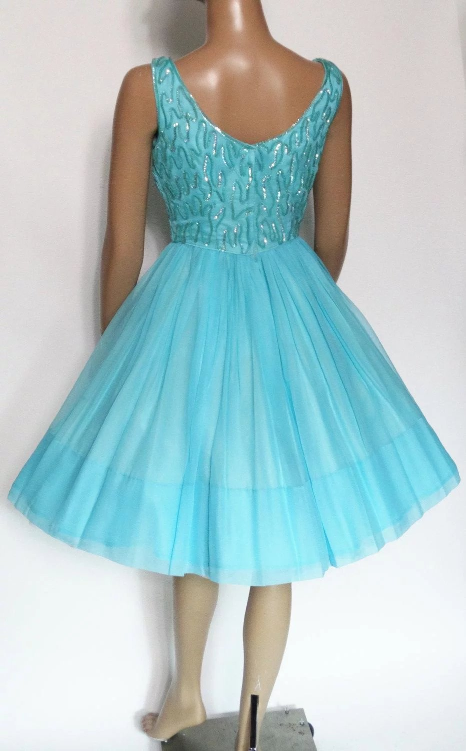 Vintage 1950s Dress |Aqua | Sequins | Jr. Theme | 50s Dress | Full ...