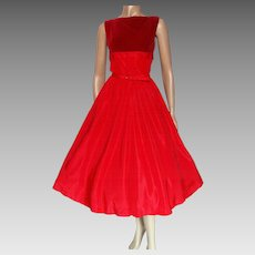 Vintage 1950s Dress/Red/Teena Paige/50s Dress/Rockabilly/New Look/Mod/Designer