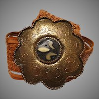 Vintage Leather Belt | Ornate Scalloped Belt Buckle | Real Leather | Brown |