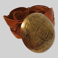 Vintage Leather Belt | Large Ornate Belt Buckle | Real Leather | Detailed Leather Work |