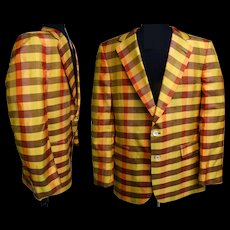 Vintage Men's Jacket//Sports Jacket//Golf Jacket//Men's Fashion//Colorful Plaid//Lined//Lebow Clothes//