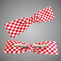 Vintage Men's Bow Tie//Retro//Royal//Rust Resistant//Red//White//Bow Tie//