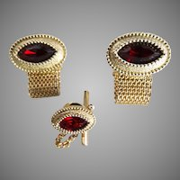 Men's Cuff Links with Matching Tie Clip//Vintage//1960s//Red
