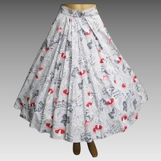 Vintage 1950s Skirt | 50s Full Skirt | Novelty Print | Rockabilly Skirt | Pink Mushrooms | 50s Skirt |