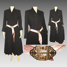 Vintage 1940s Dress | Black Dress | Art Deco Belt Buckle | 40s Dress | Hollywood Dress | 1940s Party Dress | Rockabilly Dress |