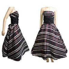 Vintage 1950s Dress | Red Metallic Stripes | Strapless Dress | Party Dress | Full Circle Dress | Prom Dress | Lorie Deb Original | 50s Dress